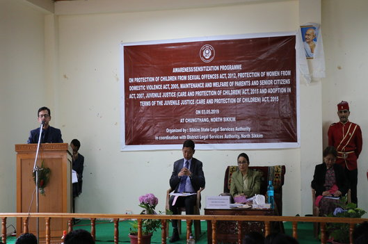 Awareness/Sensitization programme on Protection of Children from Sexual Offences Act, 2012, Protection of Women from Domestic Violence Act, 2005, Maintenance and Welfare of Parents and Senior Citizens Act, 2007, Juvenile Justice (Care and Protection of Children) Act, 2015 and Adoption in terms of the Juvenile Justice (Care and Protection of Children) Act, 2015 held on 03rd May, 2019 at Chungthang, North Sikkim