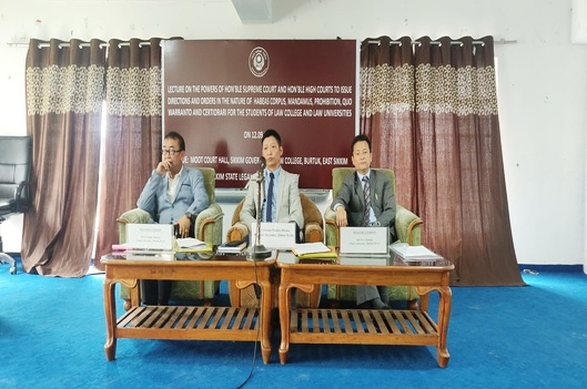 An Awareness Lecture on Powers Of Supreme Court And High Courts To Issue Directions And Orders In The Nature Of  Habeas Corpus, Mandamus, Prohibition, Quo Warranto And Cetiorari held on 12th September, 2019 for the students of Sikkim Government Law College, Burtuk, I.C.F.A.I. University, Sichey  and Sikkim University, Tadong.